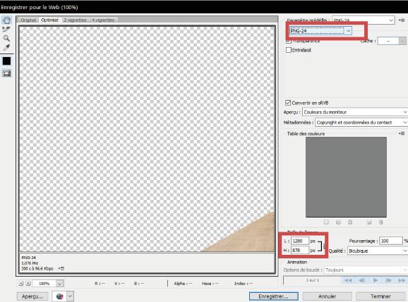 Tutoriel Enregistrer PNG photoshop