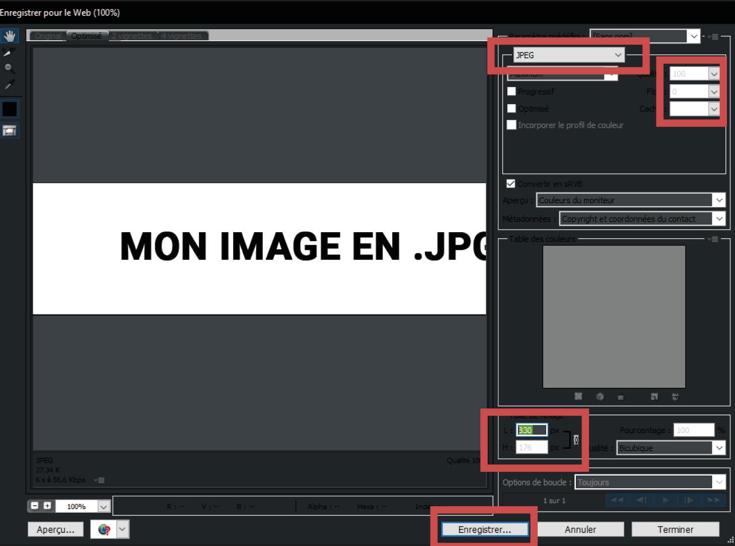 Tutoriel Enregistrer JPG photoshop